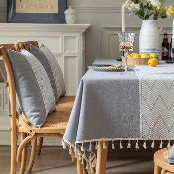 High Quality Rectangle Cotton and Linen Tablecloth with Tassels (Grey)