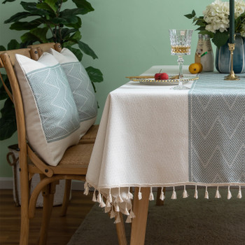 High Quality Rectangle Cotton and Linen Tablecloth with Tassels (White)