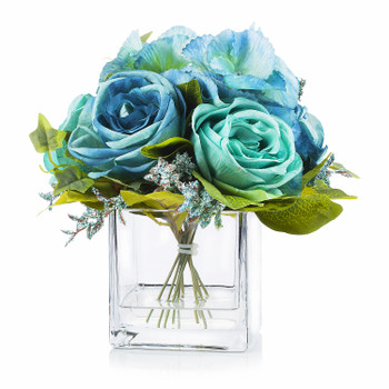 Mixed Artificial Roses Flower Arrangement in Cube Glass Vase With Faux Water(Aqua)