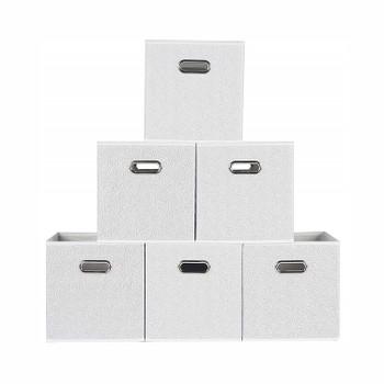Fabric Storage Bins With Metal Handles (Set of 6)