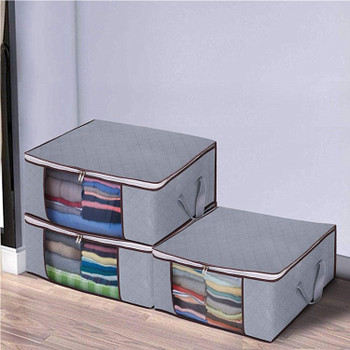Non Woven Fabric Foldable Storage Underbed Clothes Cover Bag(Set of 3)