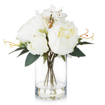 Mixed Artificial Peony and Hydrangea Flower Arrangement in Cube Glass Vase With Faux Water(Cream)
