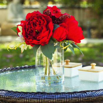Mixed Artificial Peony and Hydrangea Flower Arrangement in Cube Glass Vase With Faux Water(Red)