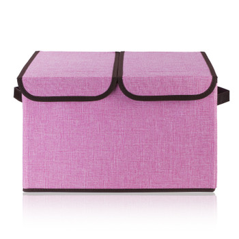 Collapsible Storage Bins with Cover(Pink)
