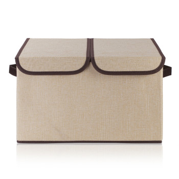 Collapsible Storage Bins with Cover Set of 3(Beige)