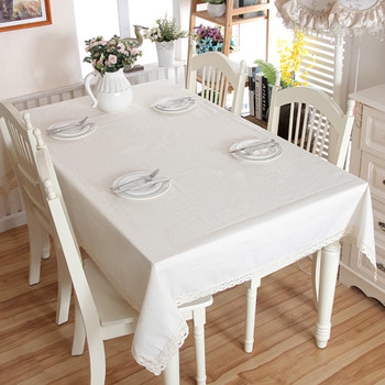 "54""x 80"" White Thicken Natural Simple 100% Cotton and Linen  Rectangle Tablecloth"