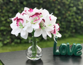 White Silk Orchid Flowers 18 pieces With Glass Vase Home Wedding Decor
