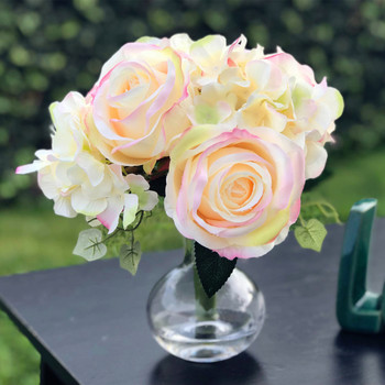 Mixed Artifical Rose and Hydrangea Bouquet with Glass Vase for Home Wedding Decoration