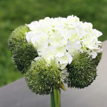 Green Flower Mixed Hydrangea with Glass Vase for Home Wedding Decoration
