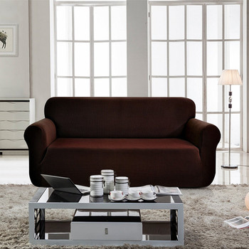Jacquard  Polyester Spandex Fabric Box  Cushion Sofa Slipcovers-Chocolate