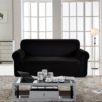 Jacquard  Polyester Spandex Fabric Box  Cushion Sofa Slipcovers-Black