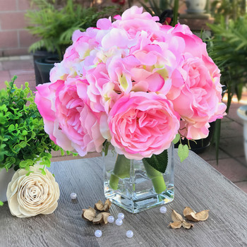 Pink  Peony and Hydrangea Mixed Faux Flower Arrangement With Clear Glass Vase