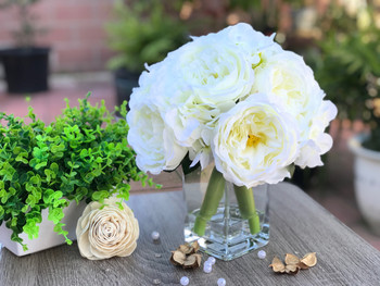 Cream Peony and Hydrangea Mixed Faux Flower Arrangement With Clear Glass Vase