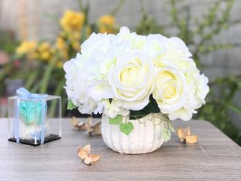 Cream Artificial Open Rose and Hydrangea Flower Arrangement With White  Ceramic Vase