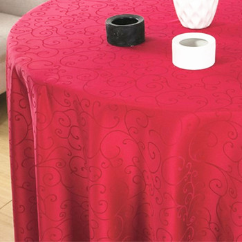 """90"""" Wine Red  Figured Dacron  Round Polyester Tablecloth"""