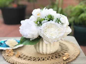 White Artificial Peony Mixed Flower Arrangements With White Ceramic Vase