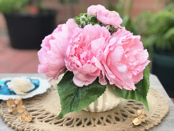 Pink Artificial Peony Mixed Flower Arrangements With White Ceramic Vase