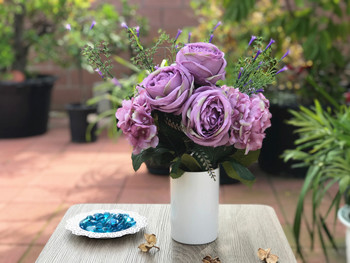 Purple Rose  and  Hydrangea Mixed Faux Flower Arrangements With White Ceramic Vase