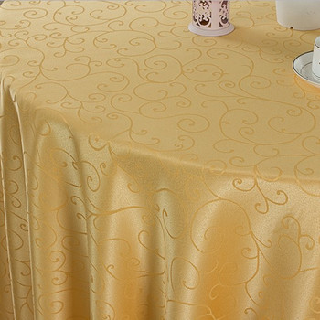 """90"""" Pale Yellow Figured Dacron Round Polyester Tablecloth"""