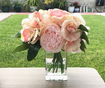 Champagne Peony  Rose  and Hydrangea Mixed Faux Flower Arrangement With Clear Glass Vase