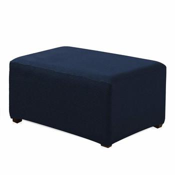 Dark Blue Jacquard Polyester Stretch Fabric  Oversized Ottoman Slipcover