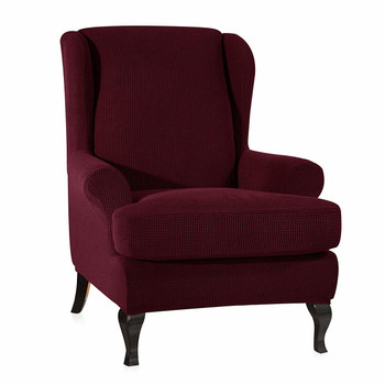 Wine Red Stretch Jacquard Spandex Fabric T-Cushion Wingback Slipcover