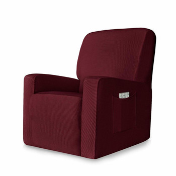 Wine Red Stretch Spandex Jacquard Recliner Chair Slipcovers with Elastic Bottom Side Pocket