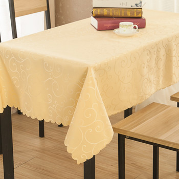 """54""""x 72"""" Pale Yellow Figured Dacron Rectangle Polyester Tablecloth"""