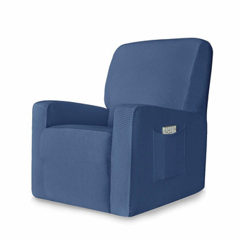 Denim Blue Stretch Spandex Jacquard Recliner Chair Slipcovers with Elastic Bottom Side Pocket