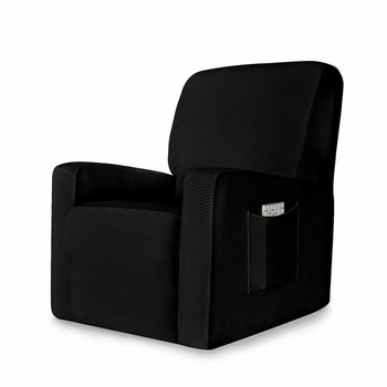 Black  Stretch Spandex Jacquard Recliner Chair Slipcovers with Elastic Bottom Side Pocket