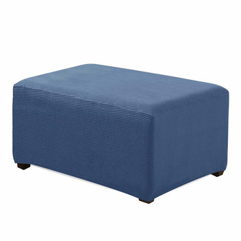 Denim Blue Jacquard Polyester Stretch Fabric  Oversized Ottoman Slipcover