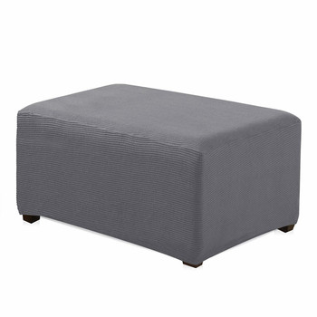Light Grey Jacquard Polyester Stretch Fabric  Oversized Ottoman Slipcover