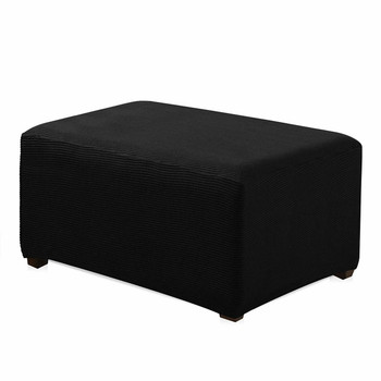 Black Jacquard Polyester Stretch Fabric  Oversized Ottoman Slipcover