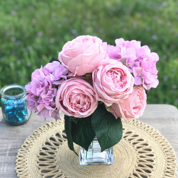 Pink Rose and Hydrangea Mixed Faux Flower Arrangement in Clear Glass Vase