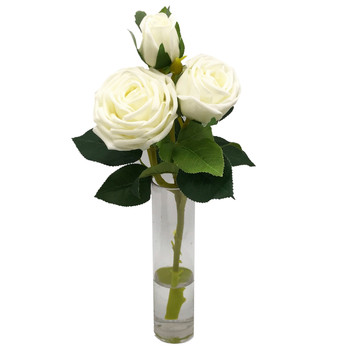 Cream Real Touch Rose Flower in Clear Glass Vase with Faux Water