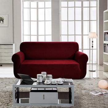 Jacquard  Polyester Spandex Fabric Box  Cushion Sofa Slipcovers-Wine Red