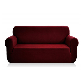 Jacquard  Polyester Spandex Fabric Box  Cushion Loveseat Slipcovers-Wine Red