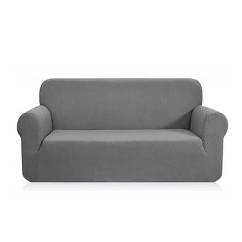 Jacquard  Polyester Spandex Fabric Box  Cushion Loveseat Slipcovers-Light Grey