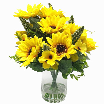 Mixed Sunflower Silk Flower Arrangement  in Clear Glass Vase with Faux Water