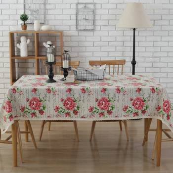 "54""x 80 "" Rose Print Rectangle 100% Cotton and Linen Tablecloth Decorative Table Top Cover"