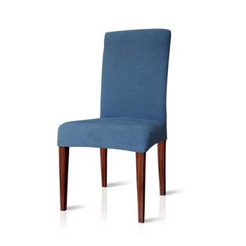 Elegant Knitting Jacquard Box CushionDining Chair Slipcover  Denim Blue