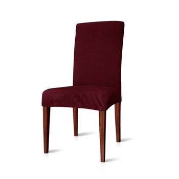 Elegant Knitting Jacquard Box CushionDining Chair Slipcover Wine Red