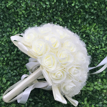 2 Pack Cream  White Artificial  Rose Flower Bridal Bouquet