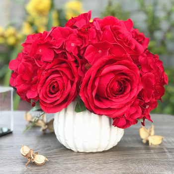 Red Artificial Open Rose and Hydrangea Flower Arrangement With White  Ceramic Vase