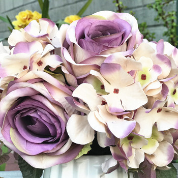 Purple Artificial Open Rose and Hydrangea Flower Arrangement With White  Ceramic Vase