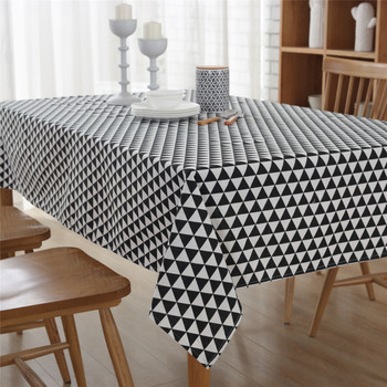 "54""x 80"" Black Triangle Rectangle Polyester Cotton Tablecloth Decorative"