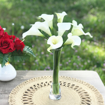 9 Heads Cream Real Touch Lily  Flower Arrangement in Clear Glass Vase