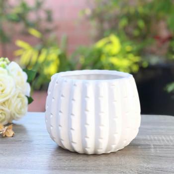 """White Ceramic Cactus Pot - 4.0"""" H x 4.0"""" H Set of 4"""