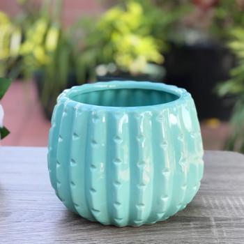 """Teal Ceramic Cactus Pot - 4.0"""" H x 4.0"""" H Set of 4"""