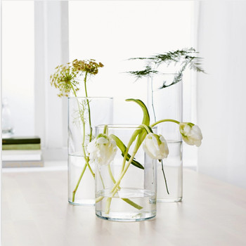 "Cylinder Shape Clear Flower Glass Vase  4.0"" W x 8.0"" H"